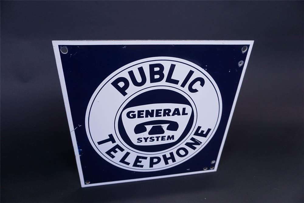 Circa 1950s General System Public Telephone double-sided tin sign with period phone graphics. - Front 3/4 - 191315