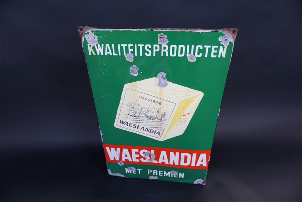 Sharp 1940s Waeslandia Margarine of Holland single-sided porcelain sign with graphics. - Front 3/4 - 191320