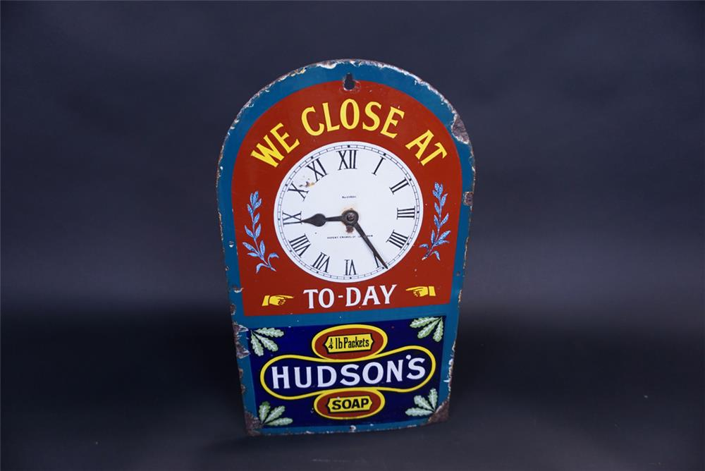 Rare 1920s Hudson's Soap single-sided porcelain clock style merchant closing sign. - Front 3/4 - 191324