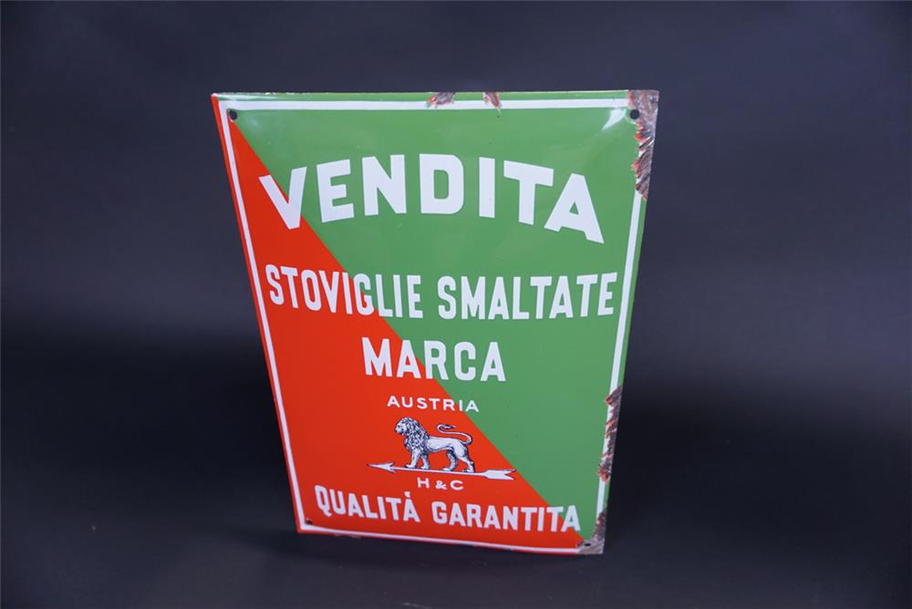 "Here ""Quality Guaranteed"" single-sided porcelain sign for the Italian market - Front 3/4 - 191326"
