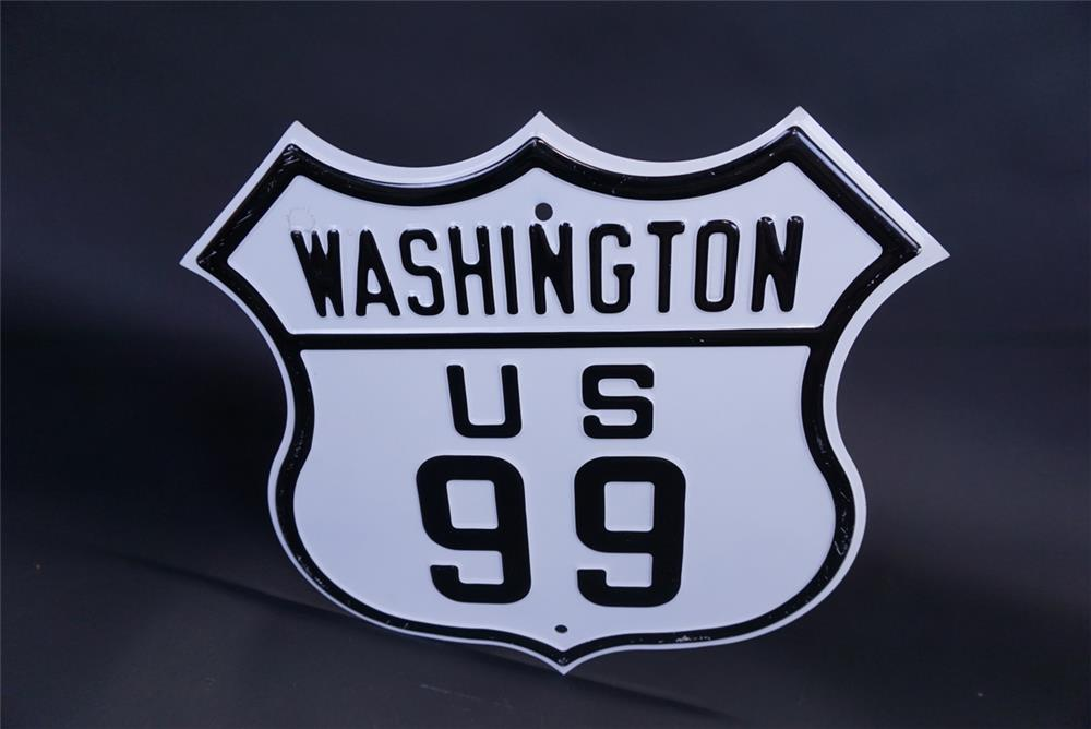 Wonderful 1940s Washington US 99 die-cut metal shield shaped highway road sign - Front 3/4 - 191327