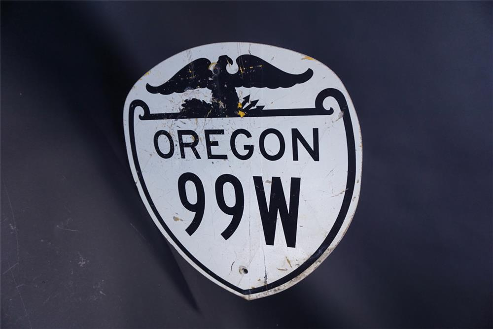 Terrific vintage Oregon 99W die-cut metal highway road sign - Front 3/4 - 191328