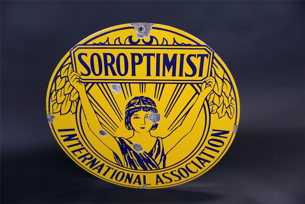 1930's Soroptimist International Association single-sided porcelain sign with young Athena-esque logo. - Front 3/4 - 191329