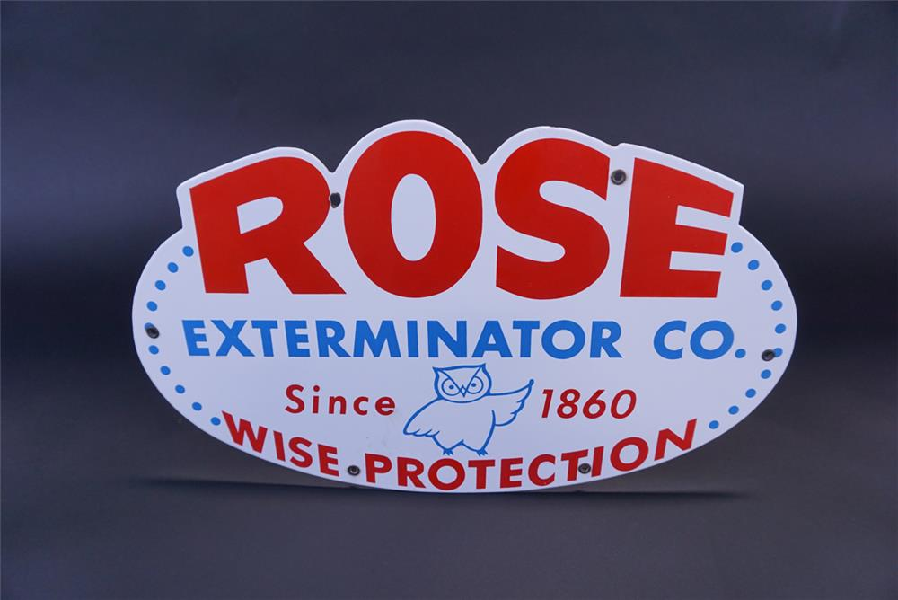 "Protection"" single-sided porcelain truck sign with owl graphic. - Front 3/4 - 191336"