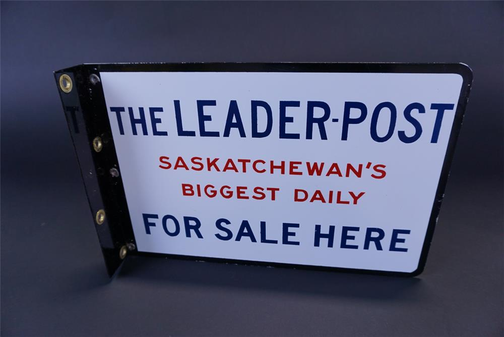Circa 1930s The Saskatchewan Leader-Post Newspaper double-sided porcelain flange sign. - Front 3/4 - 191341