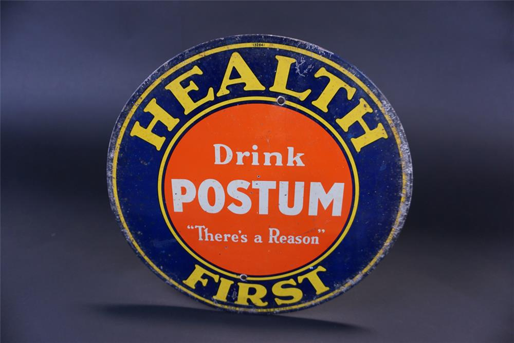 Unusual 1916 Health First Drink Postum single-sided die-cut tin general store sign. - Front 3/4 - 191343