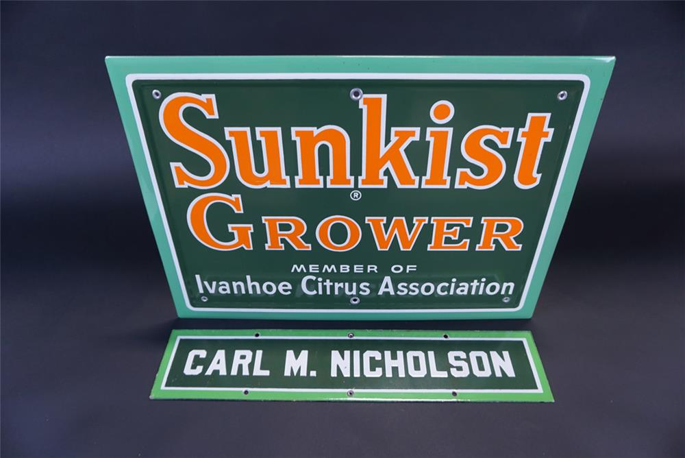 Beautiful NOS two-piece 1940s Sunkist Grower single-sided self-framed porcelain sign. - Front 3/4 - 191344