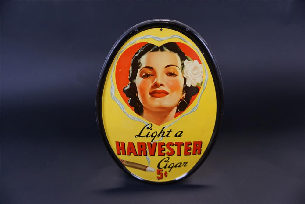 Circa 1930s Light a Harvester Cigars single-sided tin litho sign with beautiful Spanish model. - Front 3/4 - 191346