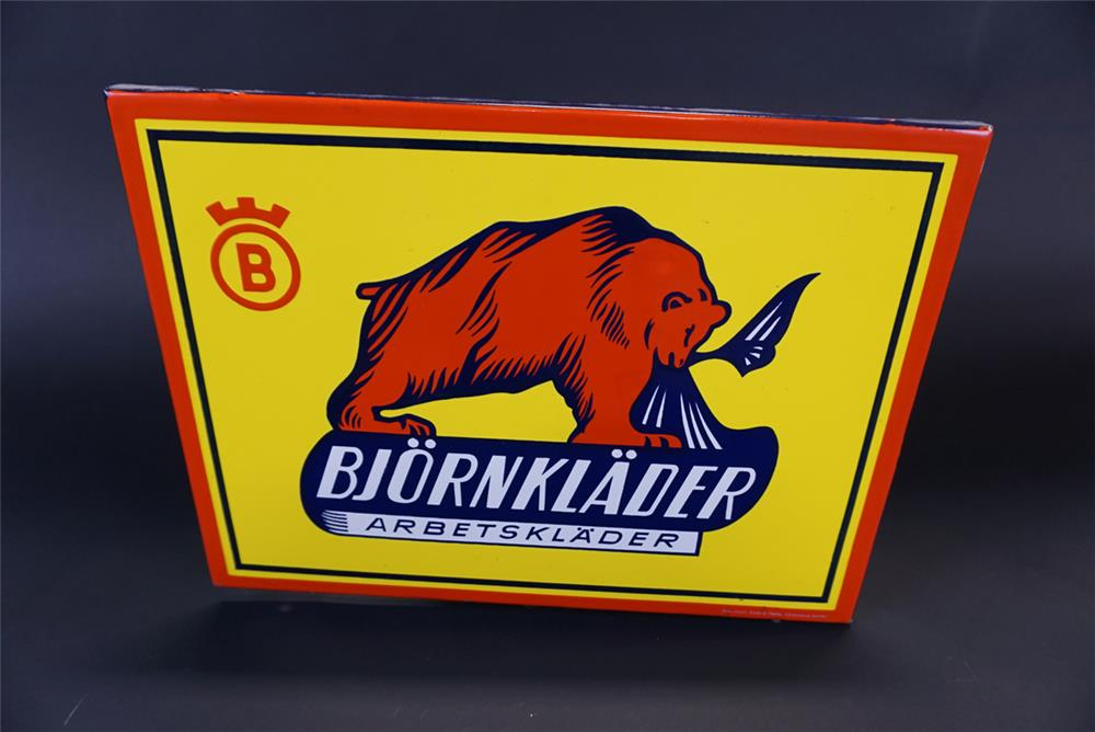 Unusual vintage Bjornklader Scandinavian Work Wear single-sided porcelain sign with nice colors and graphics. - Front 3/4 - 191352