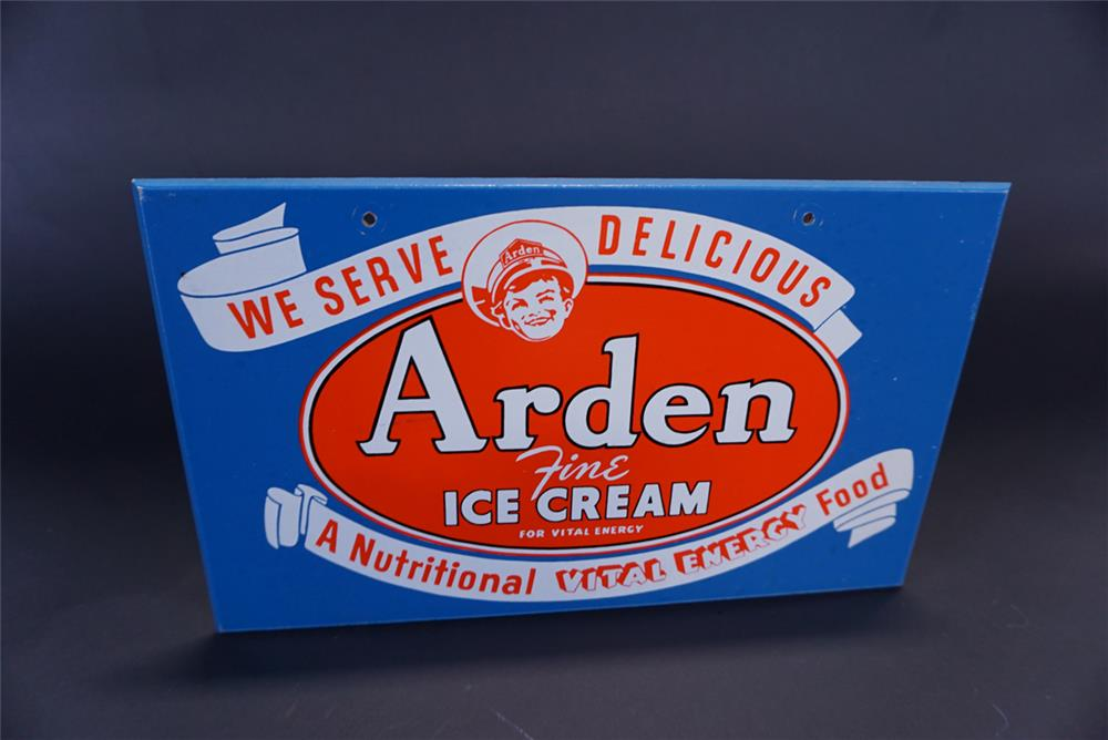 Nifty 1950s Arden Ice Cream single-sided masonite soda fountain sign with Arden Boy logo. - Front 3/4 - 191353