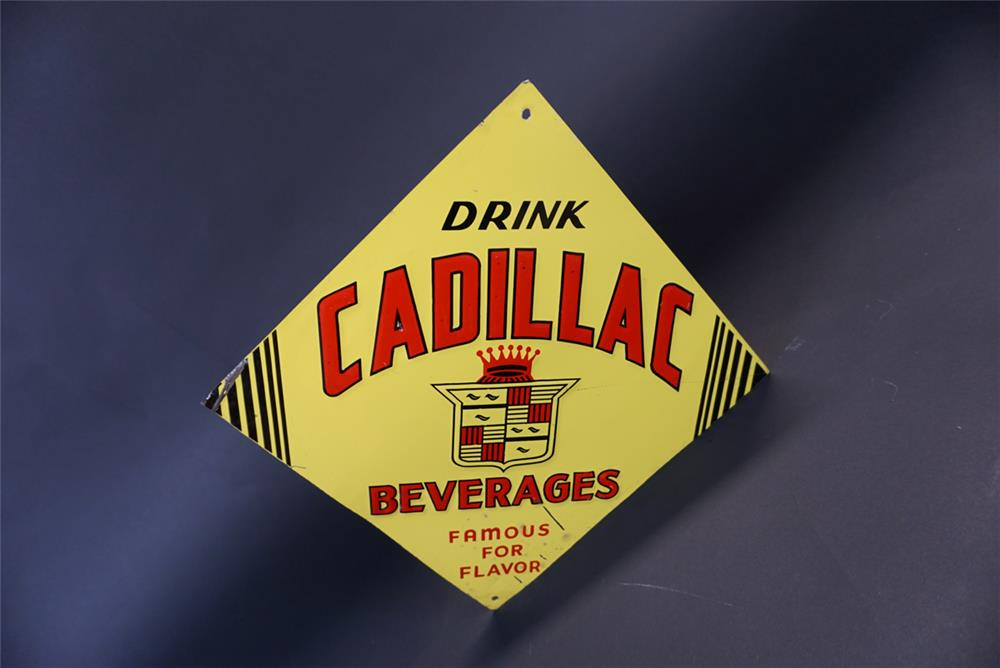 Neat circa 1940s-50s Cadillac Soda Beverages single-sided tin sign with Cadillac crest logo - Front 3/4 - 191356