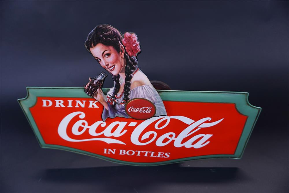 Newer Drink Coca Cola in Bottles single-sided tin sign with Spanish maiden artwork. - Front 3/4 - 191359