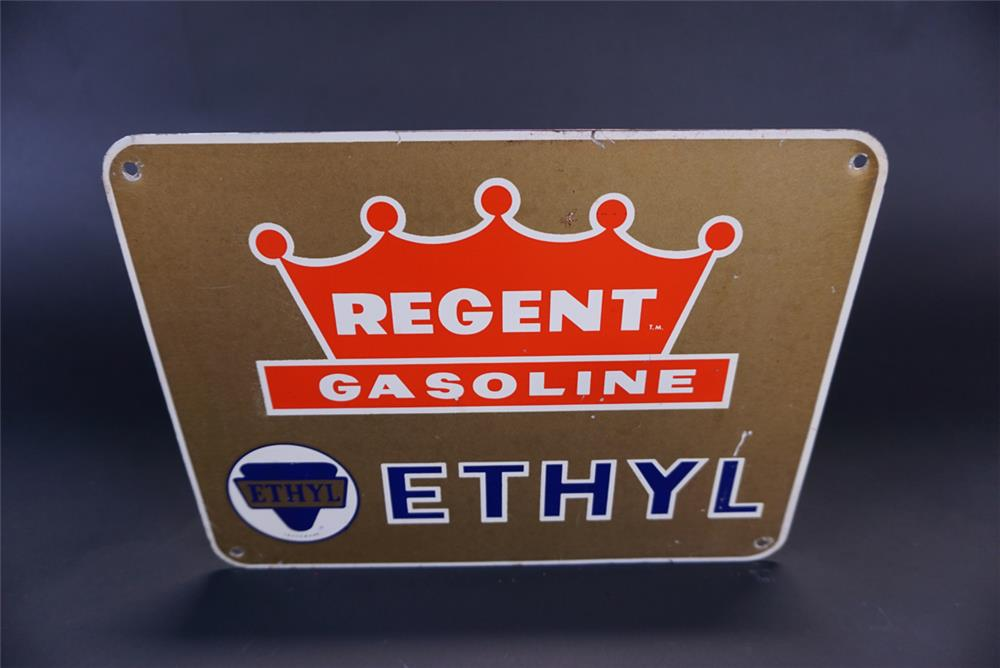 Uncommon 1950s Regent Gasoline with Ethyl single-sided tin pump plate sign. - Front 3/4 - 191360