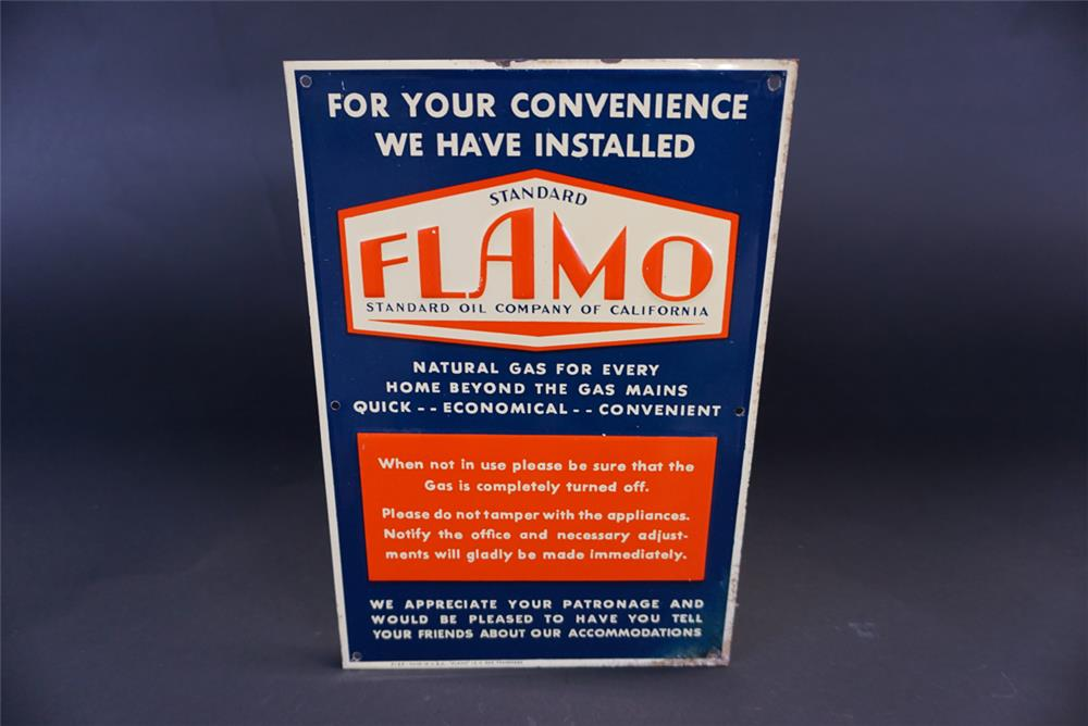 Unusual 1930s Standard Oil Company Flamo Natural Gas single-sided tin sign. - Front 3/4 - 191362