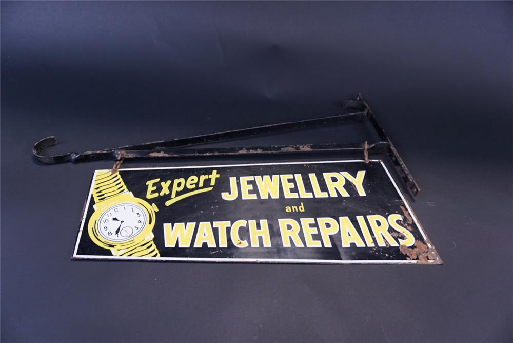 Circa 1940s Jewelry and Watch Repairs double-sided tin sign with original hanger. - Front 3/4 - 191365