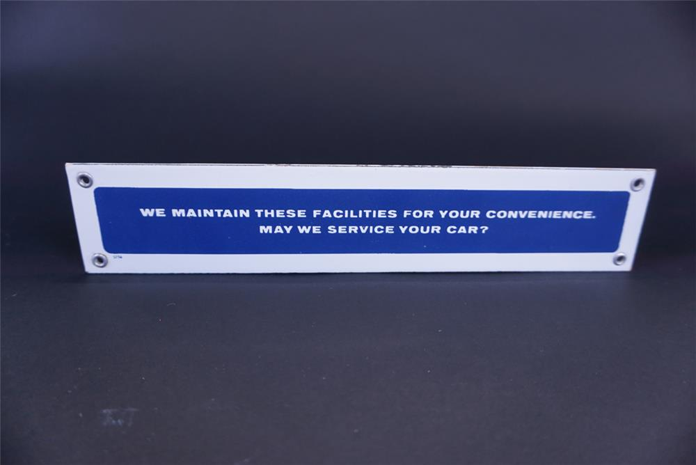 Unusual 1956 Rest Room porcelain sign with service solicitation message. - Front 3/4 - 191367