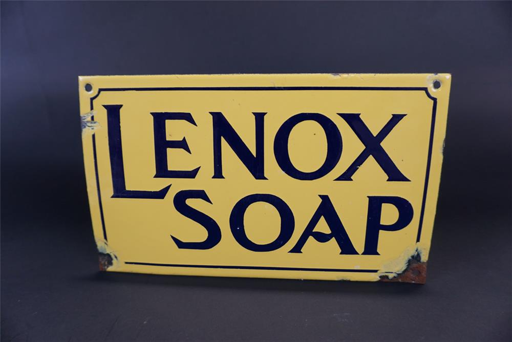 Choice 1920s Lenox Soap single-sided porcelain general store sign. - Front 3/4 - 191371