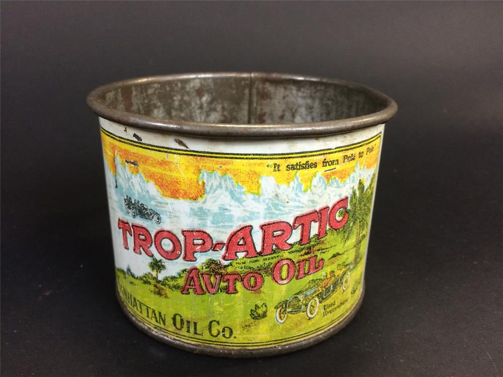 Rare early 1920s Trop Atric Auto Oil promotional cup metal cup with period touring car graphics. - Front 3/4 - 191381
