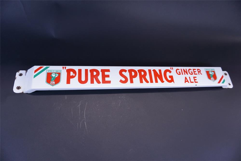 1950s Pure Spring Ginger Ale single-sided porcelain door push sign with Jamaican Ginger graphics. - Front 3/4 - 191382