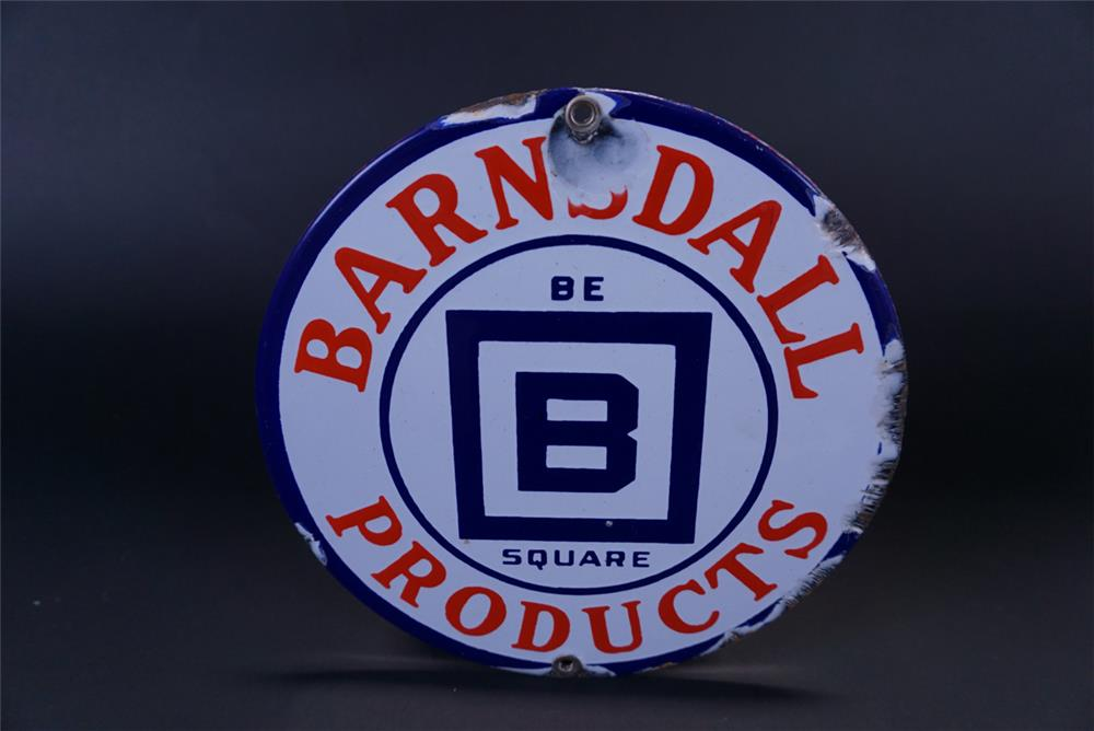 1930's Barnsdall Be Square Products single-sided porcelain lubester sign. - Front 3/4 - 191386