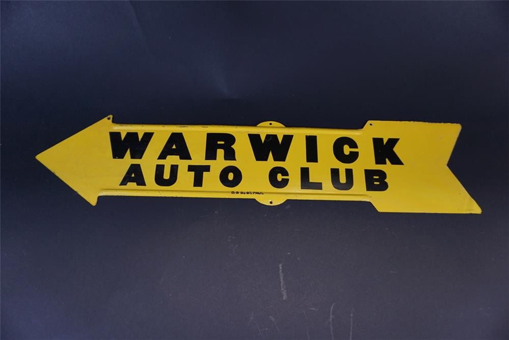 Circa 1920s Warwick Auto Club single-sided die-cut tin arrow shaped sign. - Front 3/4 - 191387