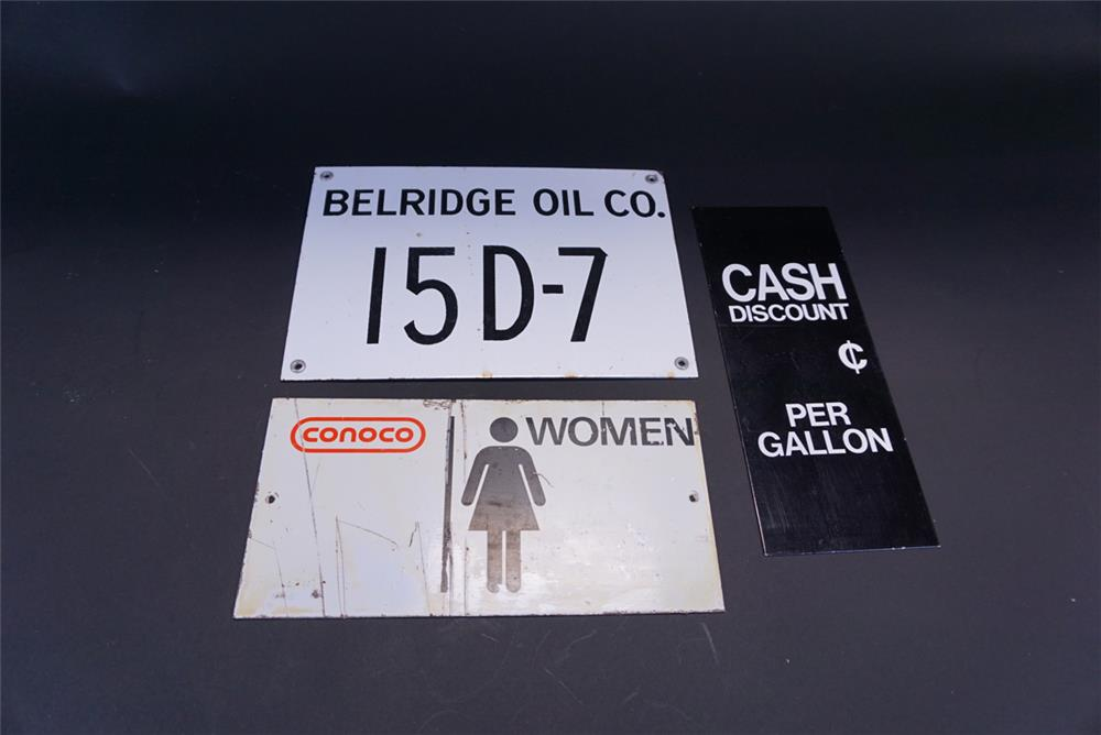 Lot of three various oil company signs from the 1950s to 70s. - Front 3/4 - 191396