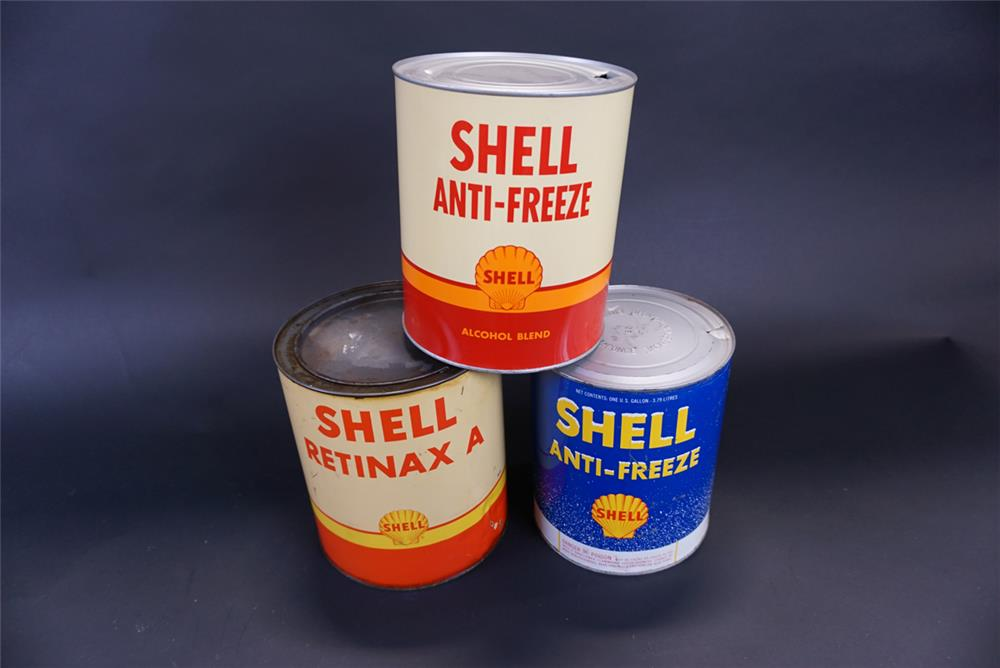 Lot of three 1950s-60s Shell Oil one-gallon tins for Anti-Freeze and Retninax A. - Front 3/4 - 191399