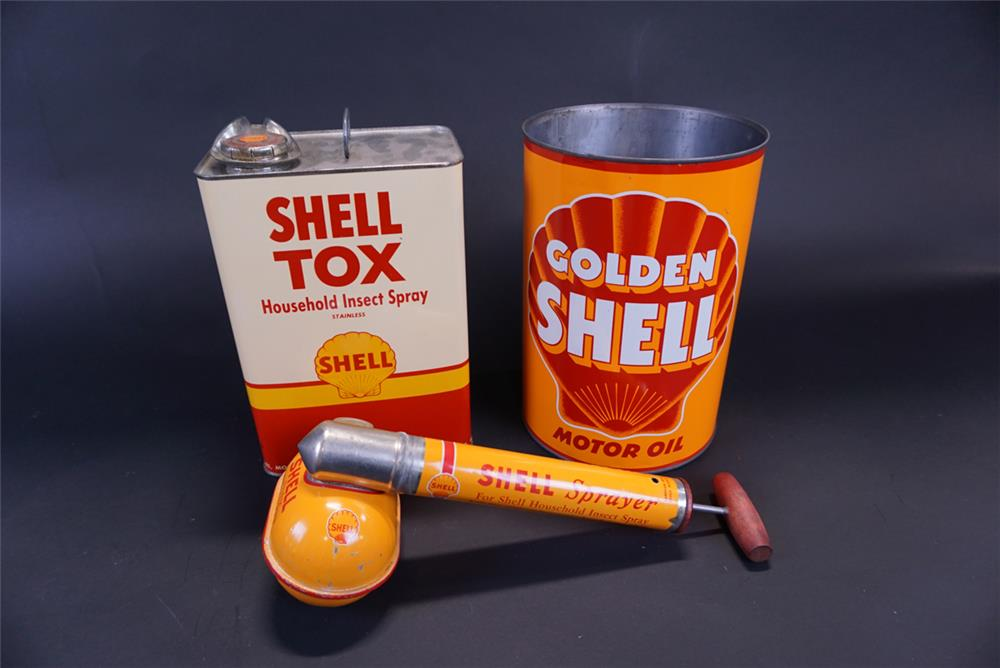 Lot of three Shell Oil tins from the 1930s thru 1950s. - Front 3/4 - 191400
