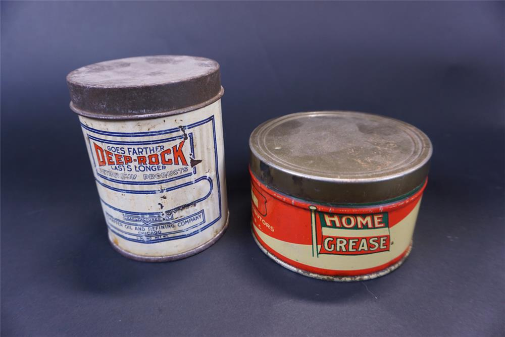 Lot consisting of a 1930s Deep Rock Goes Father one-pound grease tin and a Home one pound grease tin. - Front 3/4 - 191402