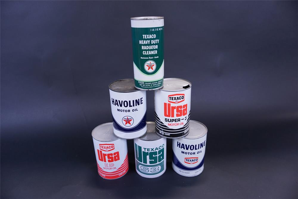Lot of six 1960s assorted Texaco Motor Oil quart cans. - Front 3/4 - 191403