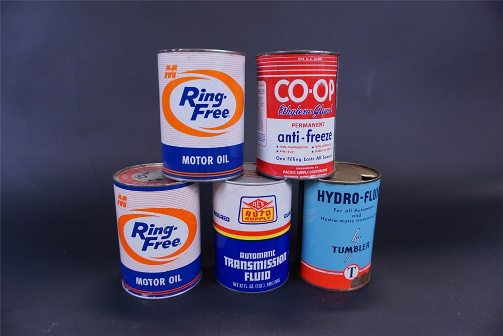 Lot of five 1950s 1-quart motor oil tins from different oil companies. - Front 3/4 - 191404