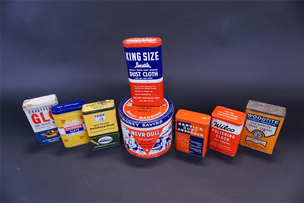 Lot of eight assorted 1940s-50s automotive polish tins. - Front 3/4 - 191406
