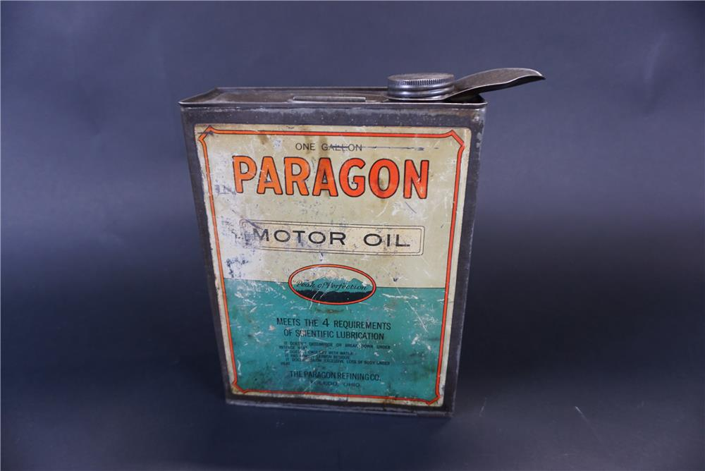 Rare 1920s Paragon Motor Oil one-gallon solder seamed tin with spout. - Front 3/4 - 191407