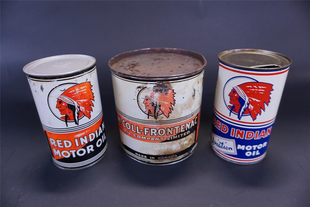 Lot of three hard to find Red Indian Motor Oil tins by the McColl-Frontenac Oil Company. - Front 3/4 - 191412