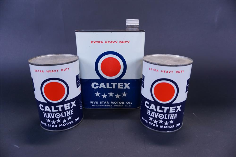 Lot of three Caltex Oil metal tins including one two-Liter tin and two imperial quarts. - Front 3/4 - 191415