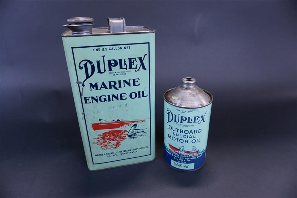 Lot of two hard to find Duplex Marine Oil tins consisting of a 1920s one-gallon tin and a 1940-50s quart - Front 3/4 - 191418