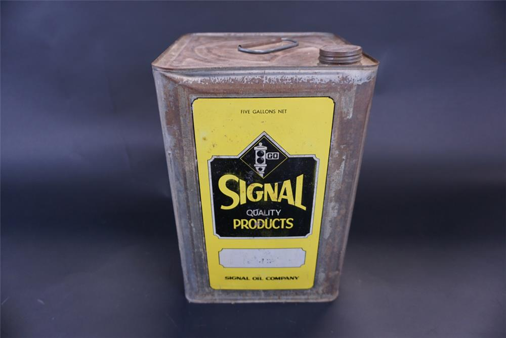 Hard to find 1930s Signal Oil 5 gallon oil tin. - Front 3/4 - 191421