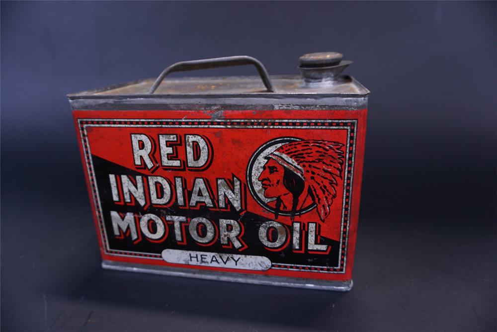 Rare circa 1920s Red Indian Heavy Motor Oil solder seemed one-gallon tin with spout. - Front 3/4 - 191425