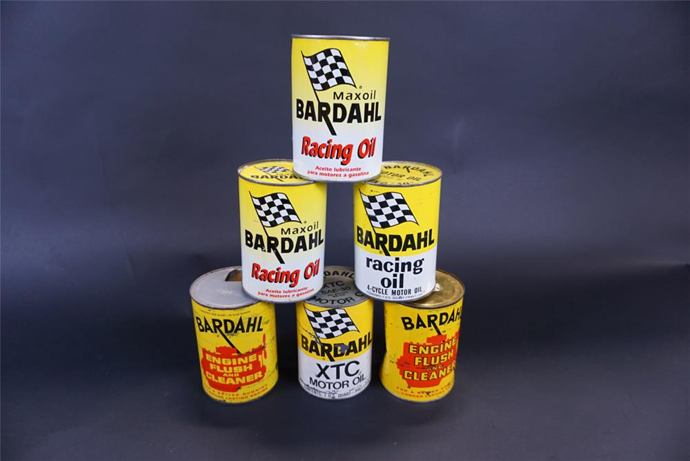 Lot of six 1950s-60s Bardahl Racing Oil metal quart cans. - Front 3/4 - 191428