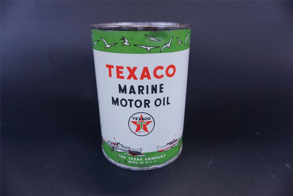 Highly desirable 1940s Texaco Marine Motor Oil one quart tin with harbor graphics. - Front 3/4 - 191431