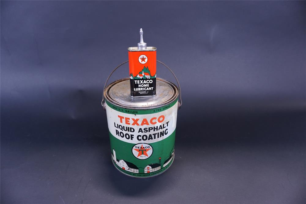 Lot consisting of a 1930s Texaco Home Lubricant tin and a Texaco Roof Coating 1-gallon tin. - Front 3/4 - 191440