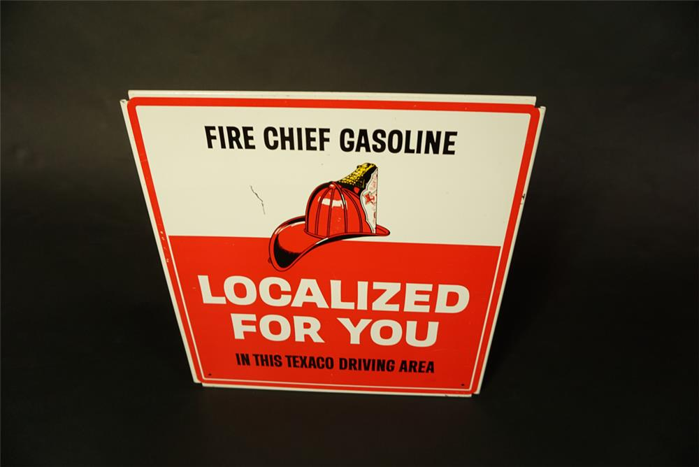 "1960s Texaco Fire Chief ""Localized For You"" single-sided tin service station sign