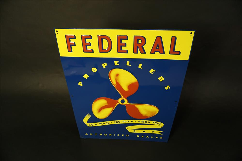 NOS 1950s Federal Propellers single-sided tin marina sign with propeller