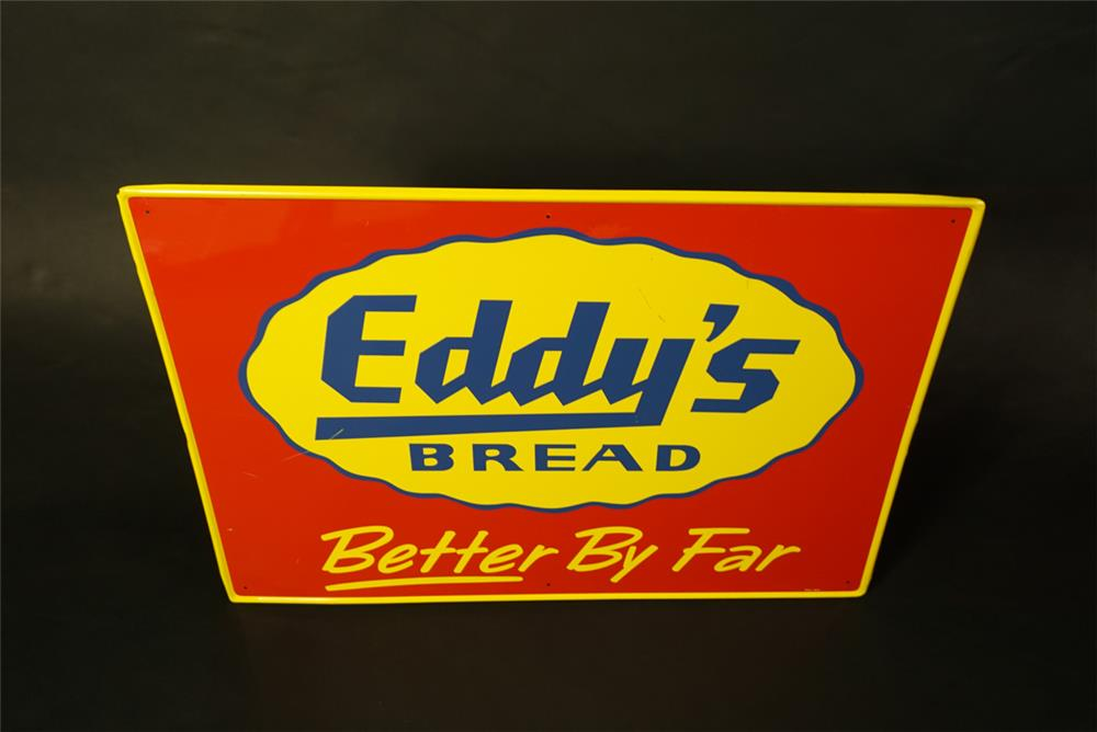 NOS 1950s Eddy's Bread single-sided tin general store. - Front 3/4 - 191447
