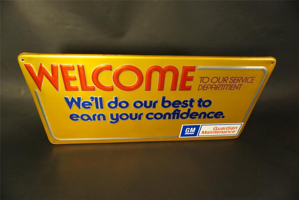 Late 1960s GM Welcome to Our Service Department single-sided tin dealership