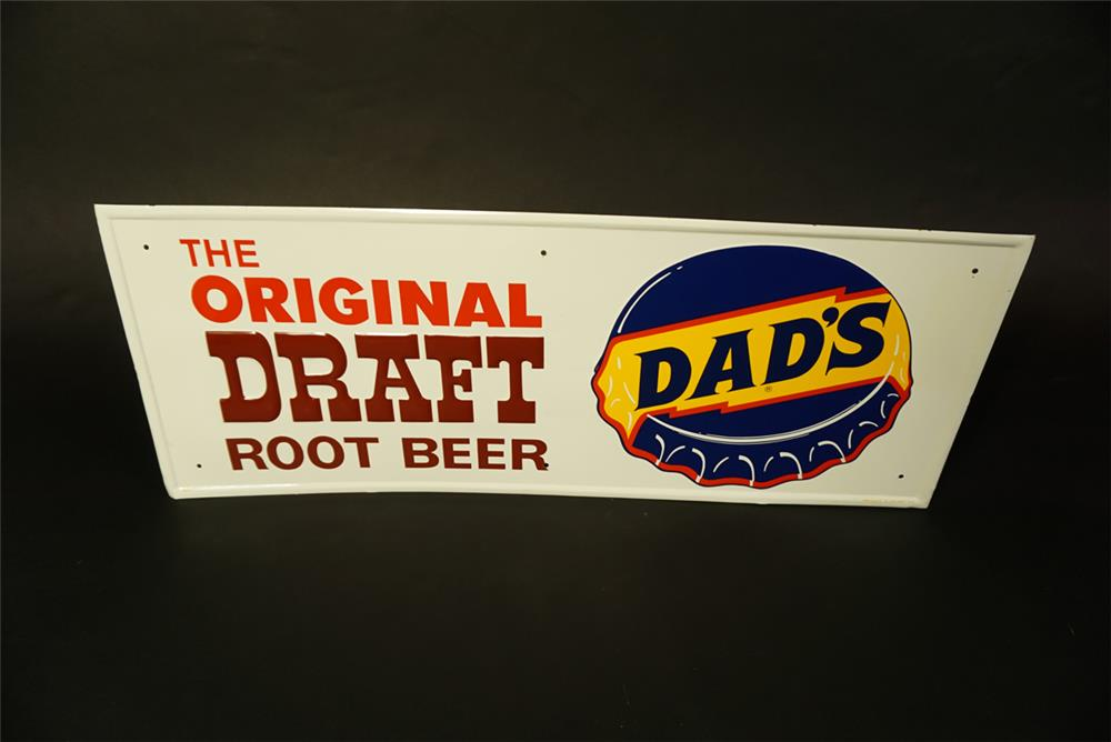 NOS 1960s Dad's Root Beer single-sided embossed tin sign with bottle cap