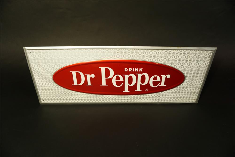Stylish NOS 1960s Dr. Pepper single-sided embossed tin sign. - Front 3/4 - 191454