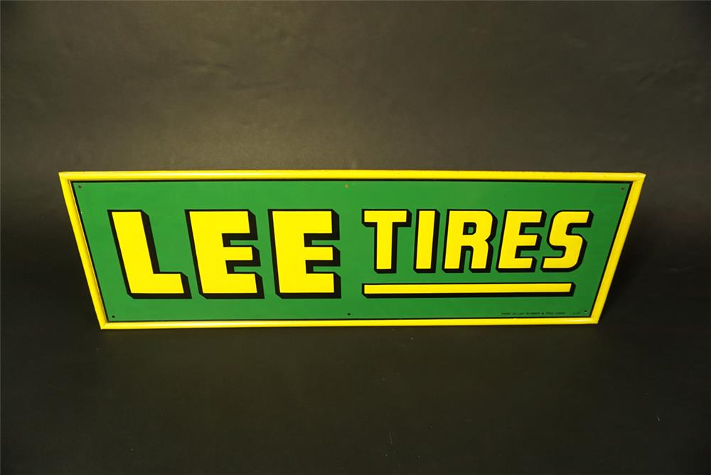 Unusual NOS 1957 Lee Tires single-sided self-framed tin automotive garage