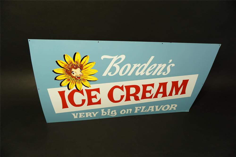 """NOS 1959 Borden's Ice Cream """"Very Big On Flavor"""" single-sided tin diner sign with Elsie the Cow logo. - Front 3/4 - 191459"""
