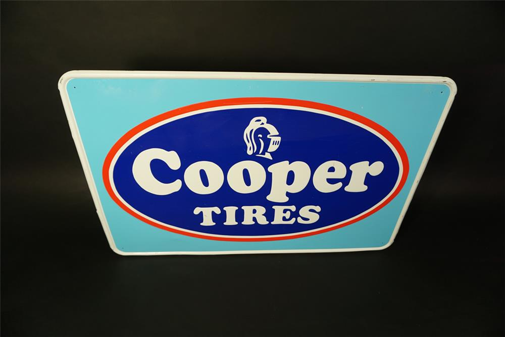 Vintage Cooper Tires single-sided self-framed embossed tin automotive garage